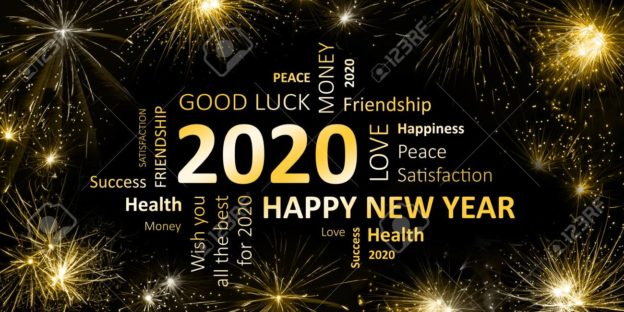 Word may pf Happy New Year related words like love,money, peace good luck etc.