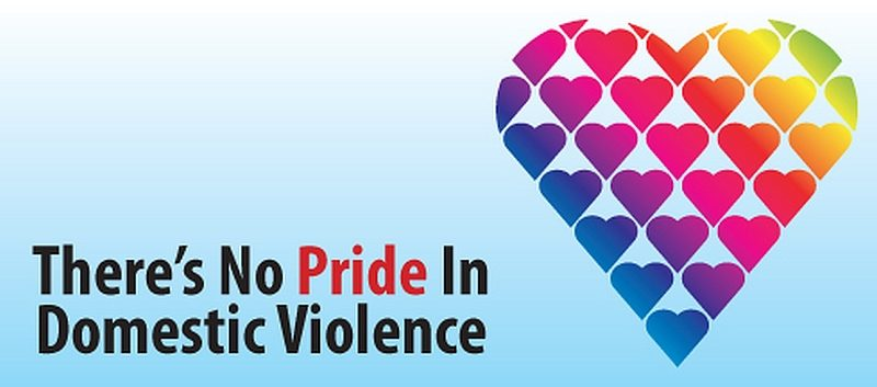 Sign says: There is no pride in domestic violence